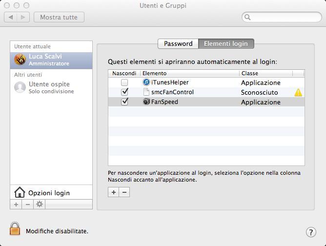 Elementi di Login MAC OS X